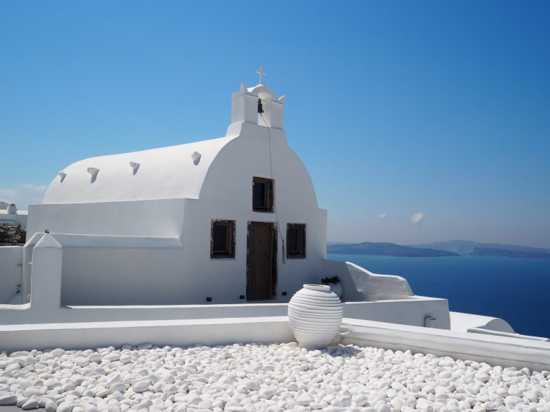 white church oia Santorini Greece