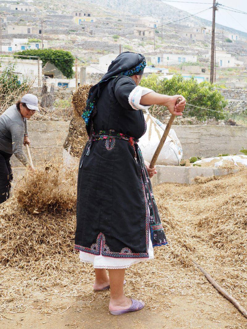 woman traditional costume rural village Avlona Karpathos