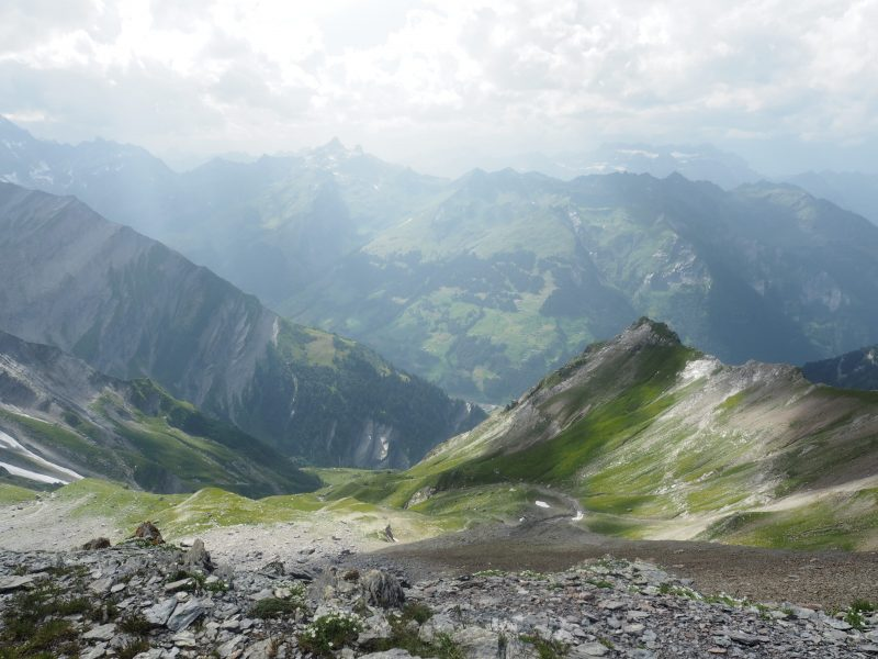 Hiking Segnes pass Switzerland summer vacation in Flims