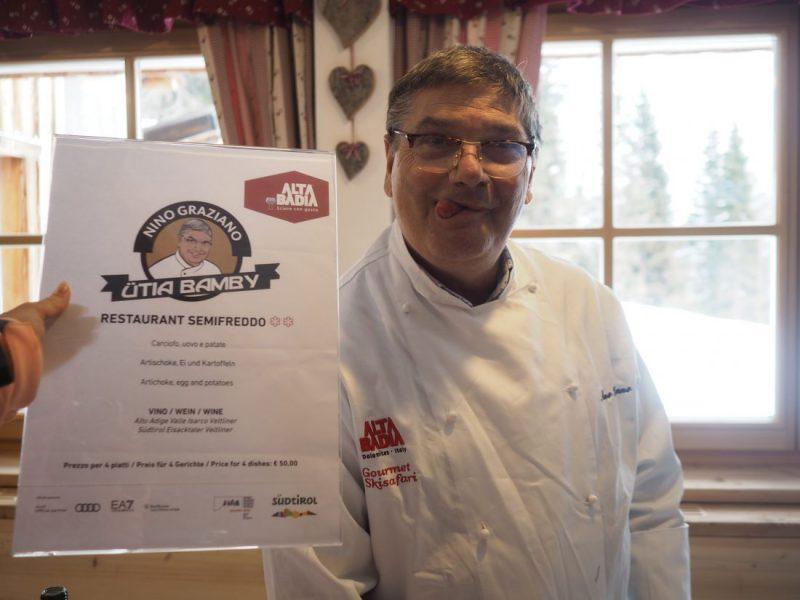 ski safari Alta Badia gourmet Michelin experience Alberto Faccani Bamby mountain hut