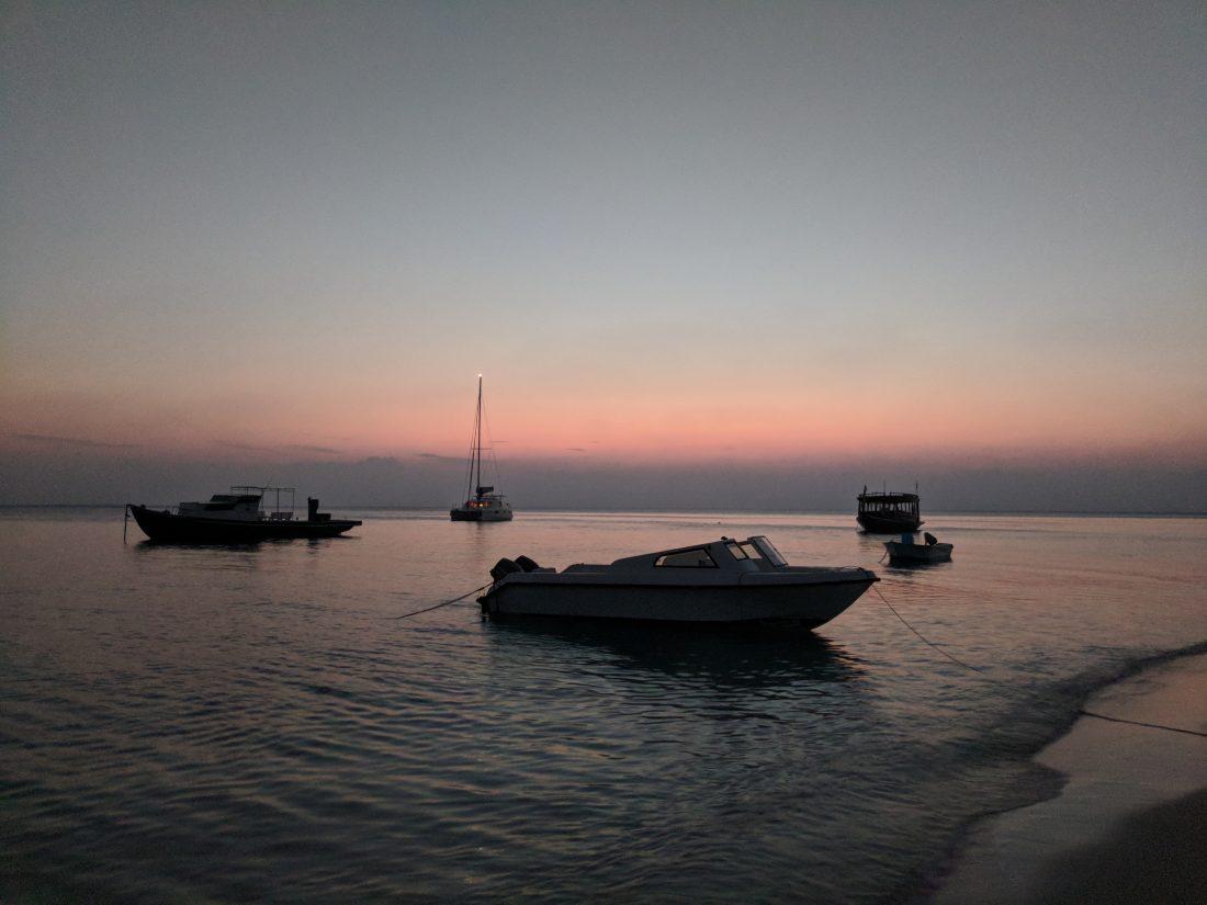 Sunset Fulidhoo Island Maldives local island