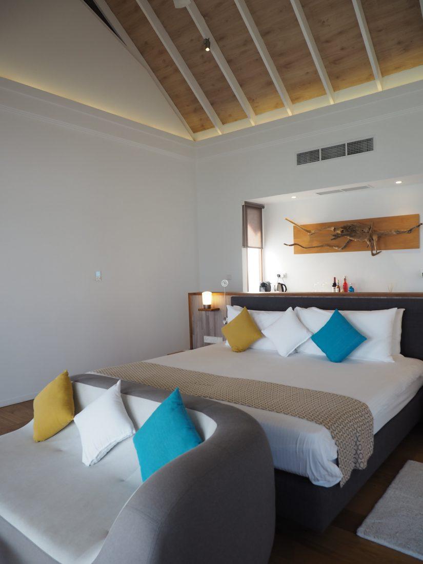 kuramathi deluxe water villa bedroom