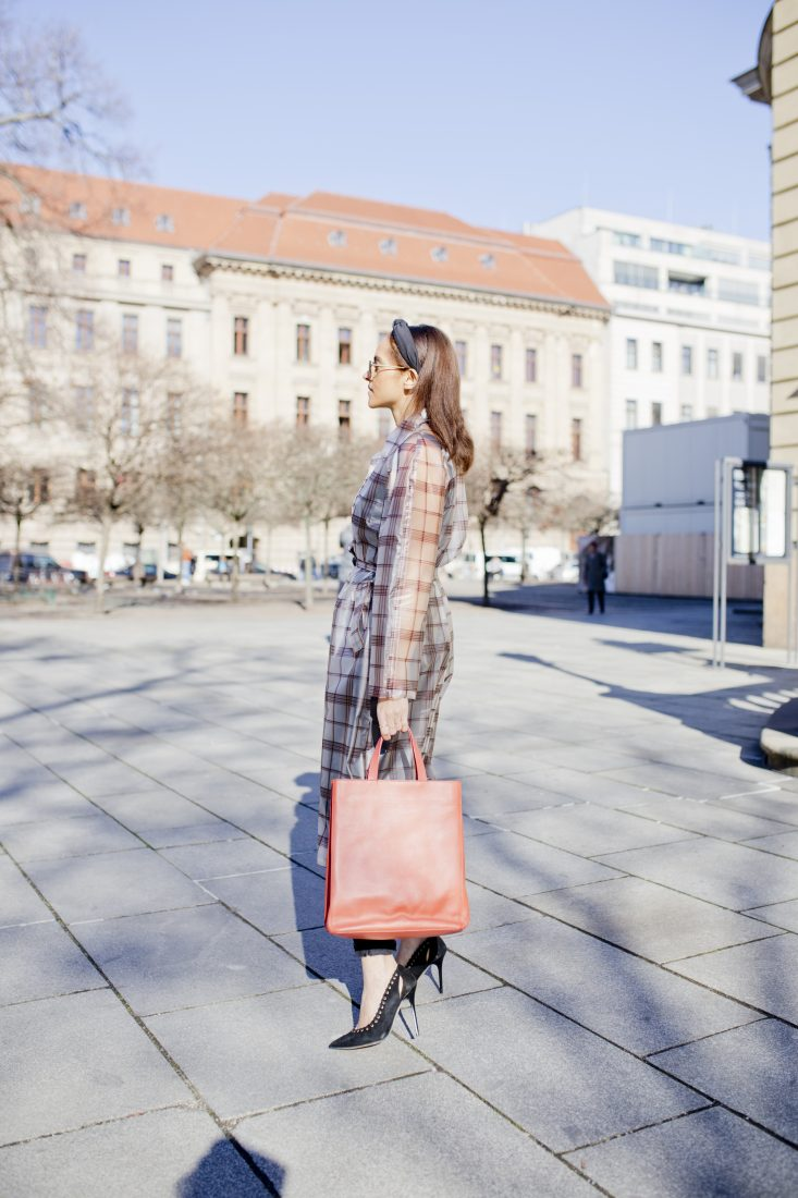 Maje transparent check coat - Outfit 8