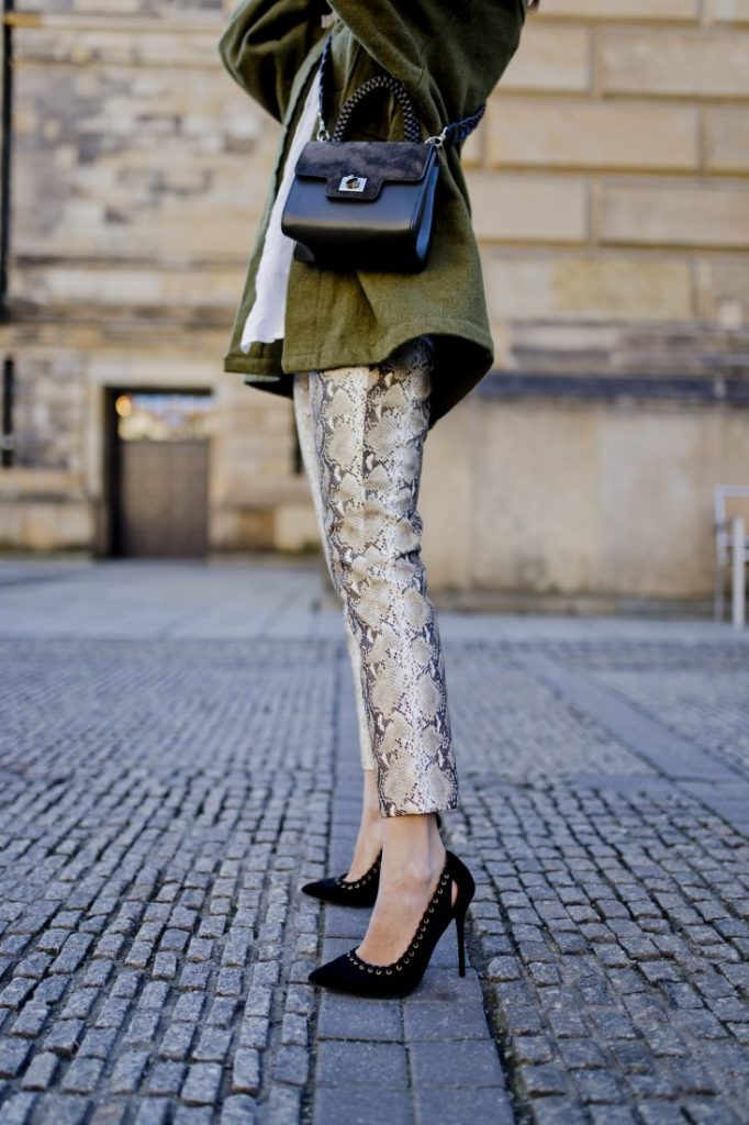 Styling snake print trousers Berlin influencer