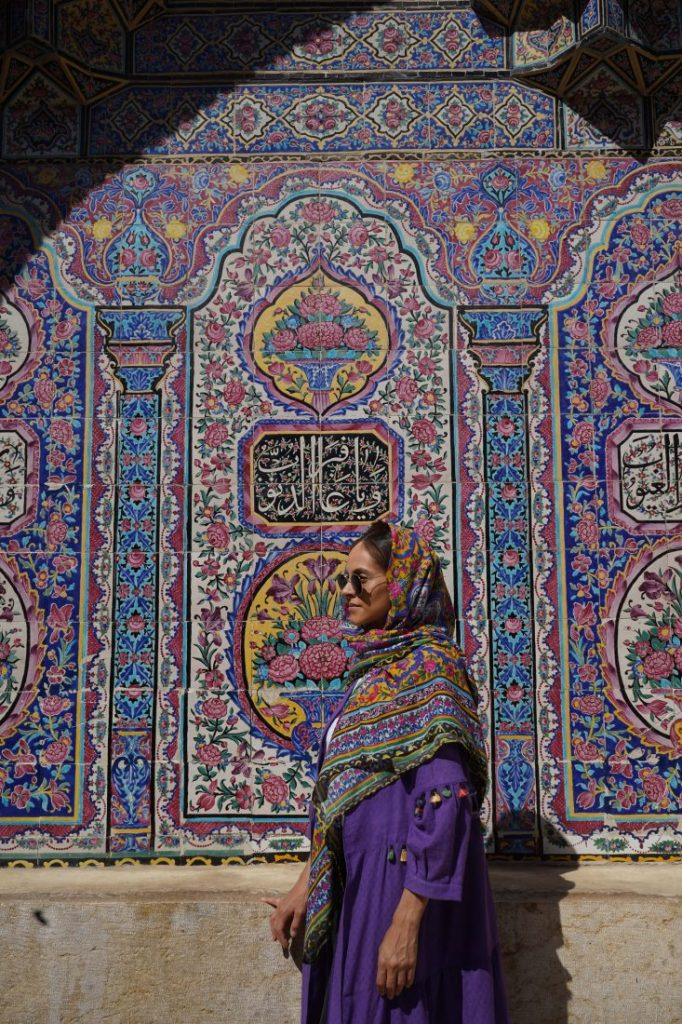 Places to visit in Iran - Iran itinerary with Igopersia Travel blogger pink mosque Shiraz