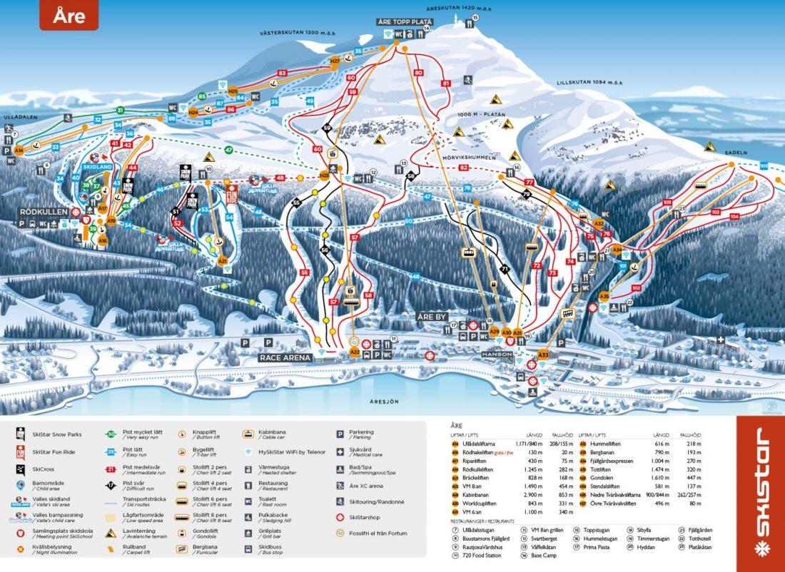 Ski map Are Sweden