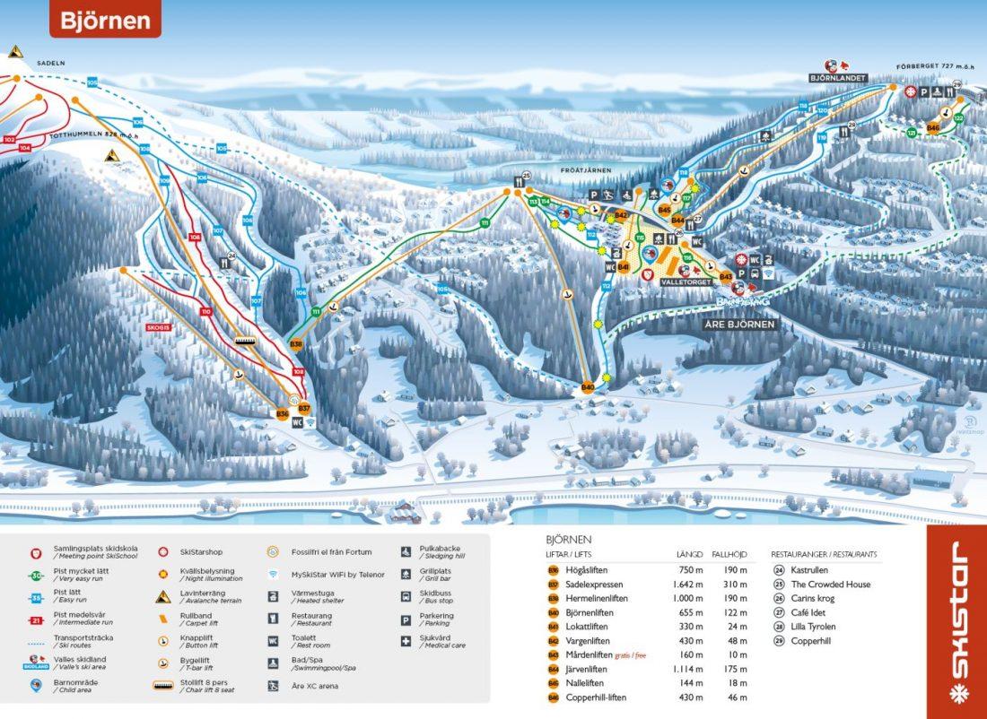 Ski map Are Bjornen Sweden