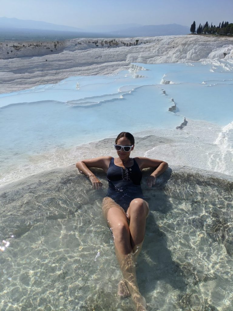 Visit Pamukkale swim hot springs